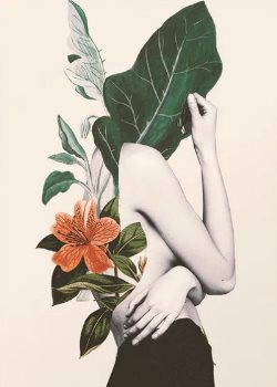 mujer con flores poster
